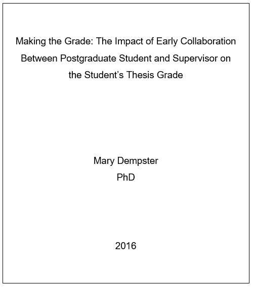 Cover page for dissertation