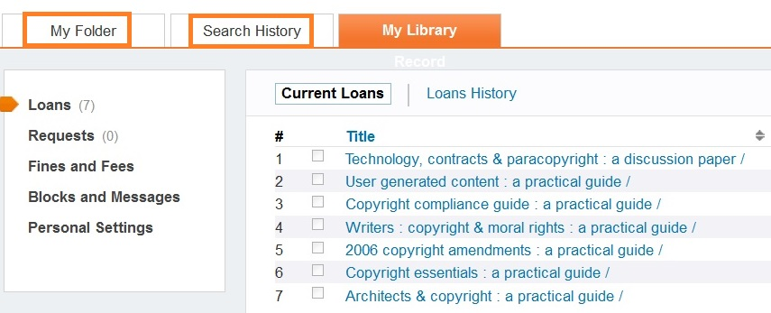 screenshot of My Library Record in Primo Search showing My folder and Search history