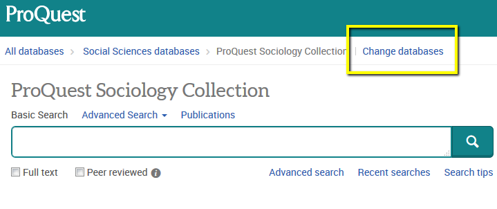 Proquest's Change Databases link