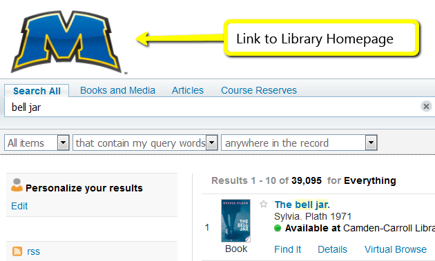 Link to library homepage in catalog