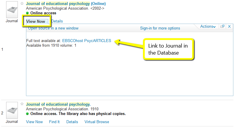 View Now options for journal result