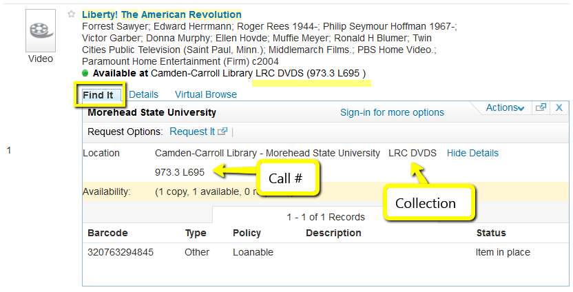 Video location information in catalog