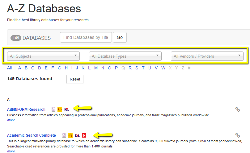 Databases A-Z guide