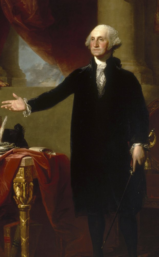 Painting of George Washington standing by a gold chair draped with cloth