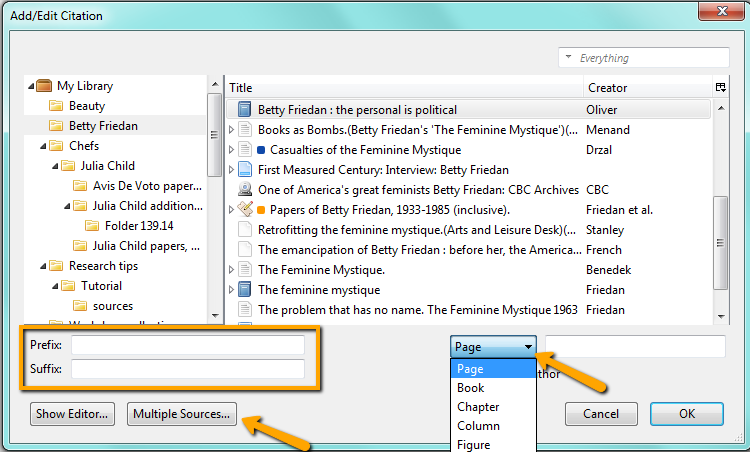 Zotero add page number, prefix/suffix, multiple sources to citation