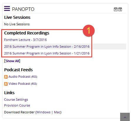Locating the Panopto Block