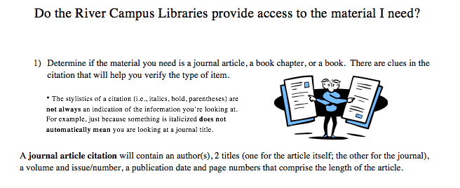 Image of a guidesheet, do the River Campus Libraries provide access to the material I need?