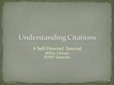 Screenshot of Understanding Citations Tutorial, with link to mp4