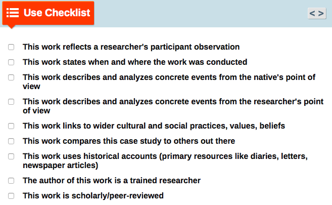 Checklist to help determine if a source is an ethnography