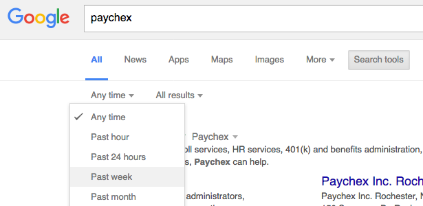 Limiting a Google search of Paychex by currency of information