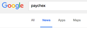 Google search for Paychex limited by news category