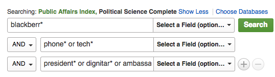 Political Science database search