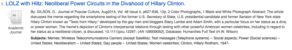Result from a search - LOLZ with Hillz: Neoliberal Power Circuits in the Divahood of Hillary Clinton