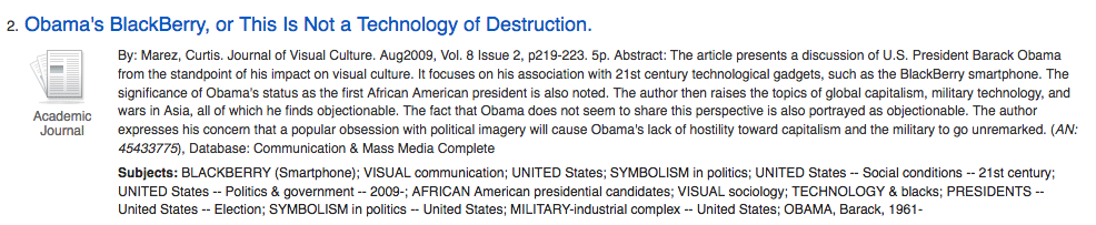 Result from a search - Obama's Blackberry, or This is Not a Technology of Destruction