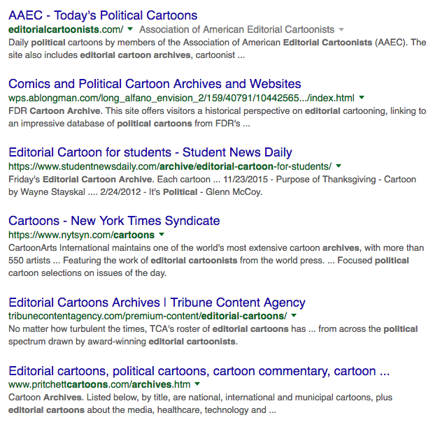Google results list for political cartoon sites and collections