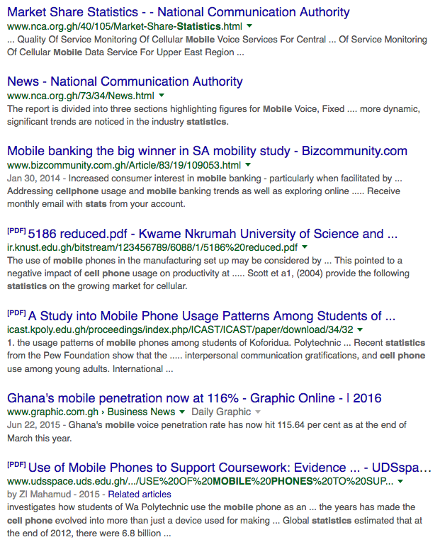 Google results for Ghanaian statistics on cell phones