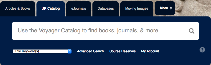 Screenshot of the search box at library.rochester.edu