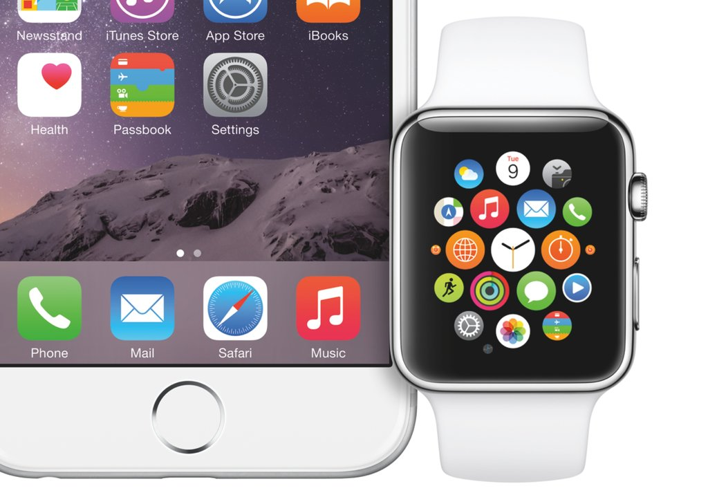 Apple watch next to an iphone