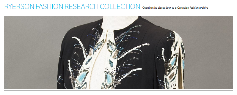 Screenshot of the Ryerson Fashion Research Collection blog homepage