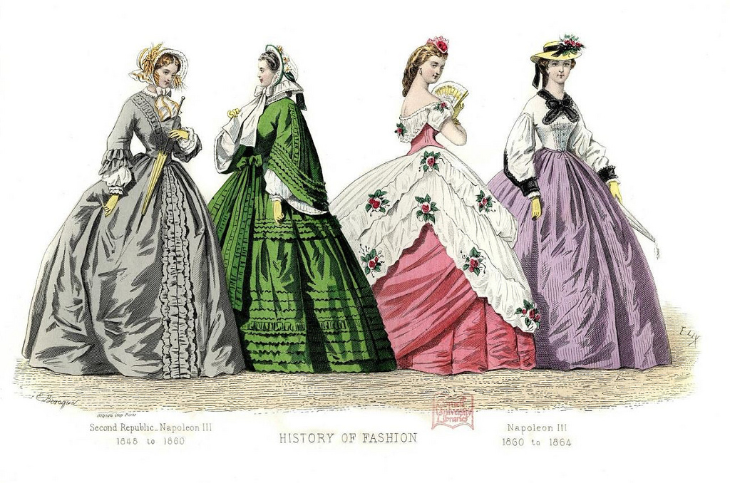 Illustration of four women modelling historical fashions