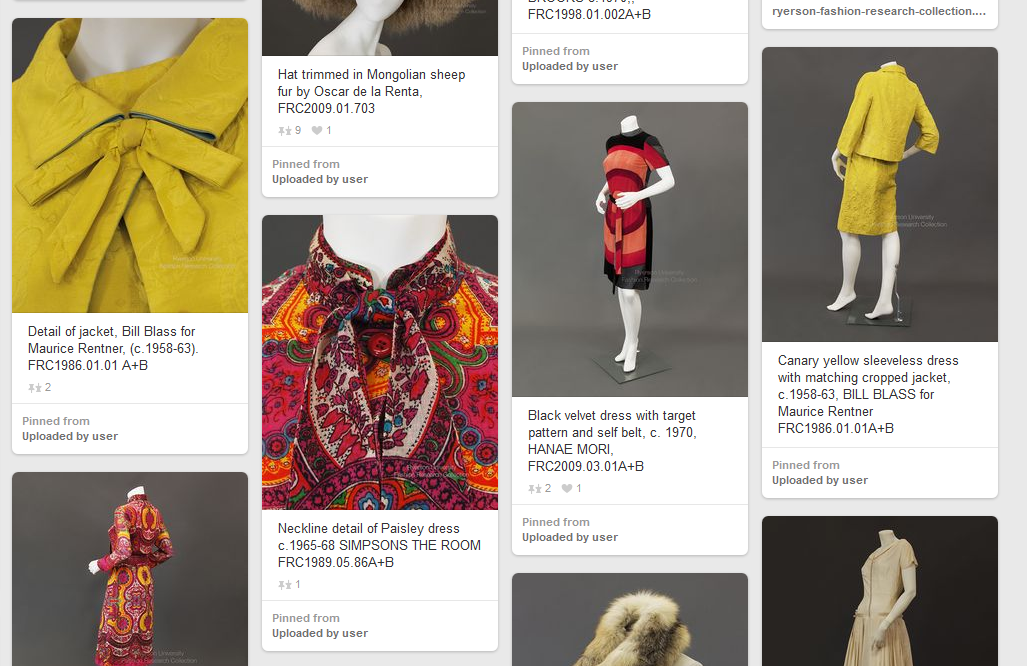 Screenshot of the Ryerson Fashion Research Collection Pinterest site