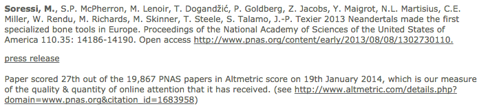 "Citation with the information ""Paper scored 27th out of 19,867 PNAS papers in Altmetric score, which is our measure of the quality and quantity of online attention that it has received"" (plus URL to metrics)"
