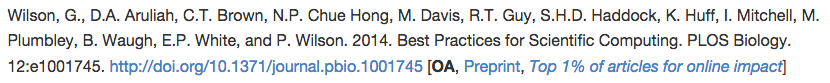 "Example of a citation with appended information ""OA, Preprint, Top 1% of articles for online impact"""