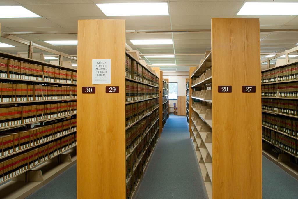 This is a photo of bookshelves in the law library.