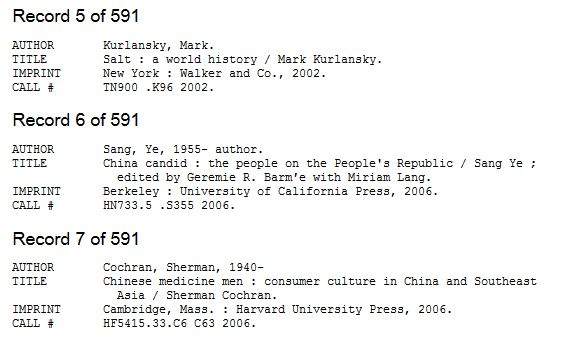 screen capture of 3 brief records from a reading history