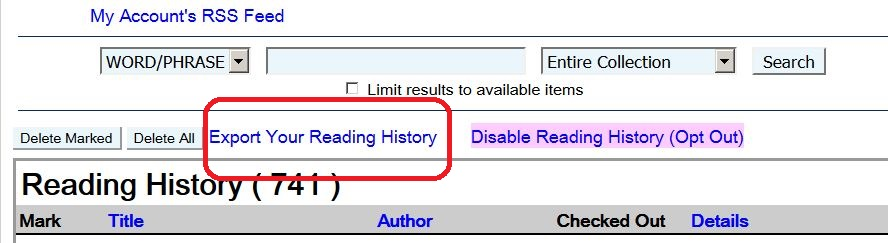 "screen capture of choice of ""Export Your Reading History"" circled in red"
