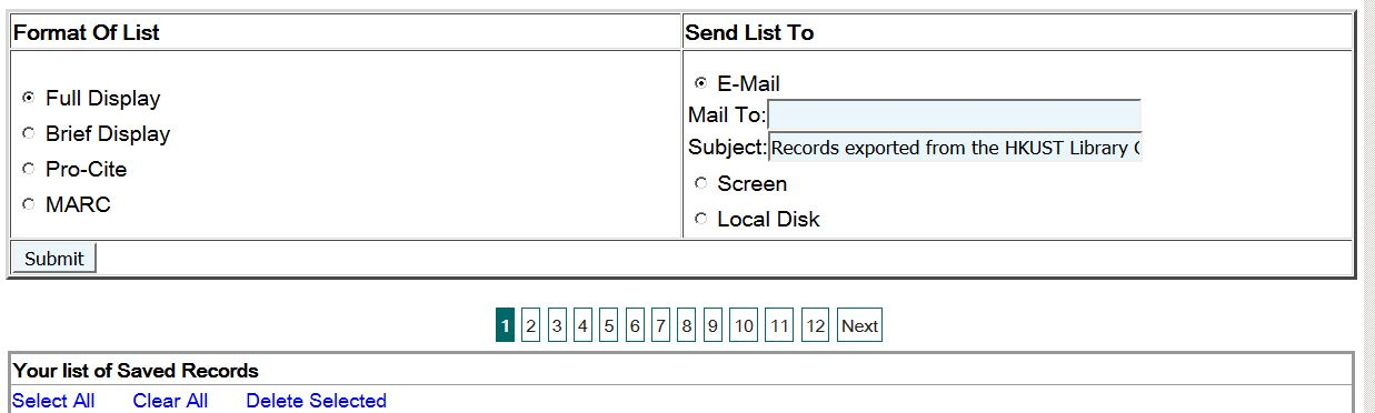 screen capture of choice of format and method of saving or emailing