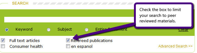 In Gale's Health and Wellness Resource Center database just below the search box are options for limiting your search.  Instead of the term peer-reviewed, the term refereed publications is used.  Check refereed publications to limit your search to peer-reviewed materials.