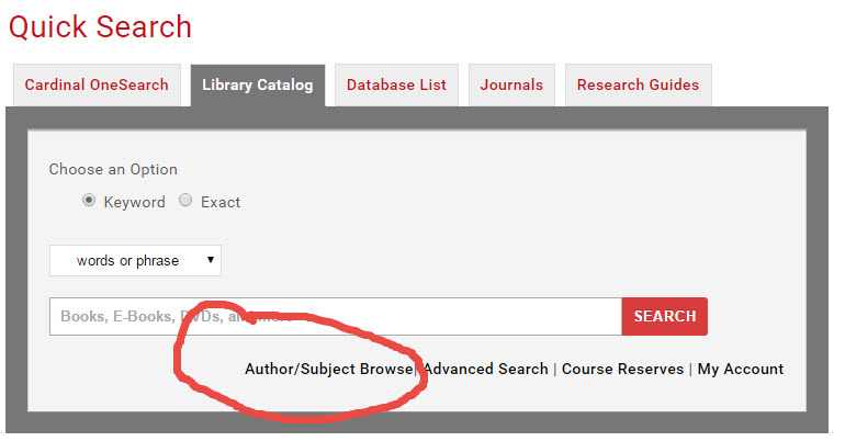 Library Catalog - Author/Subject Browse
