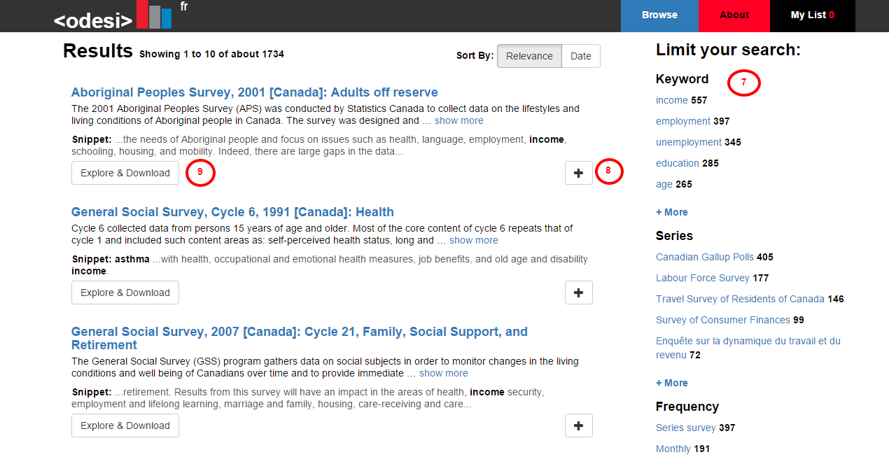 A Screen Shot of Search Results in Odesi