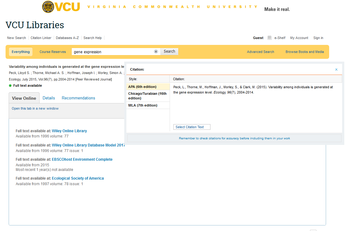 For Example, In Vcu Libraries Search, It Is Under The Button That Says  Actions