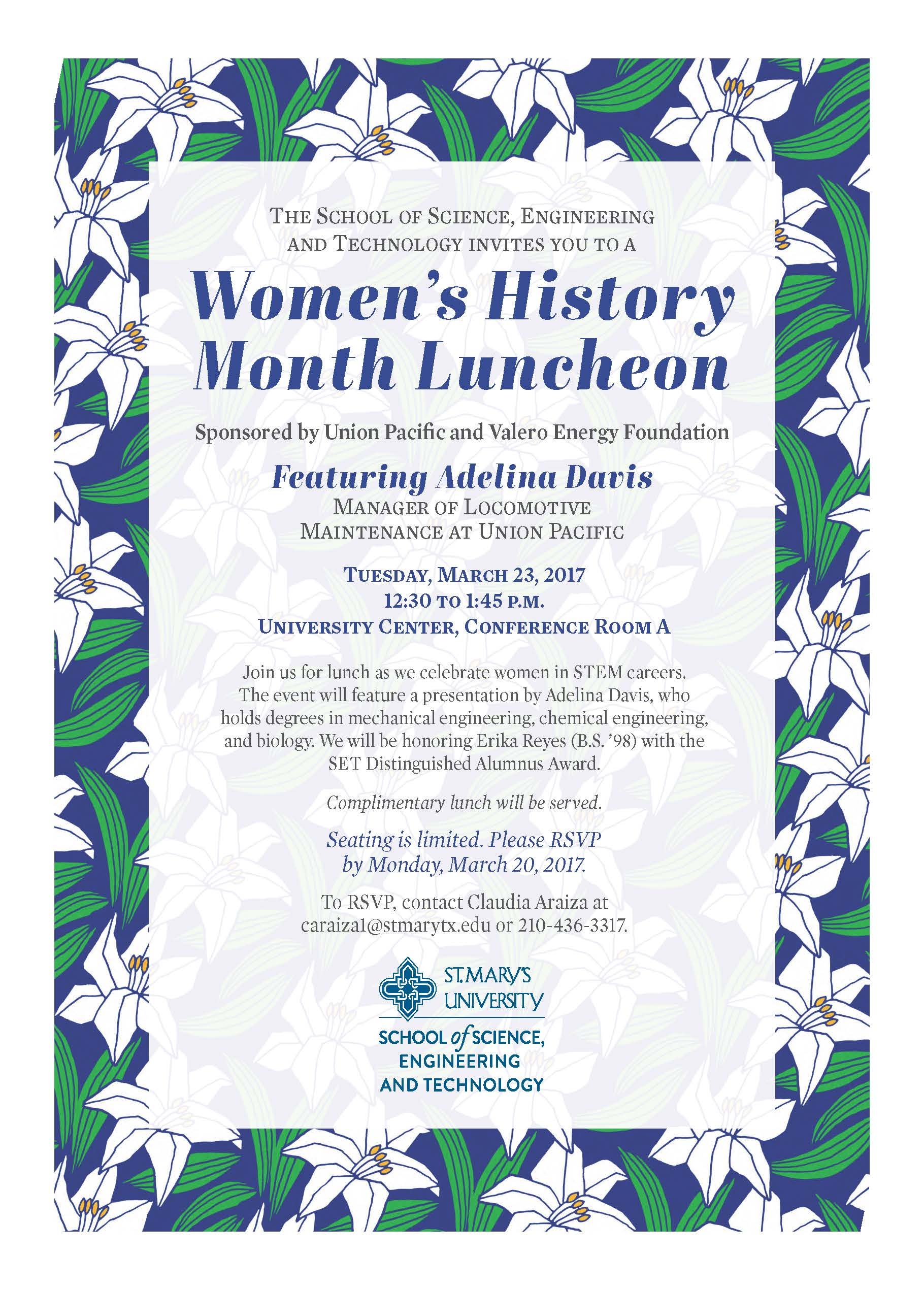 SET Women's History Month Luncheon flyer - March 23, 2017