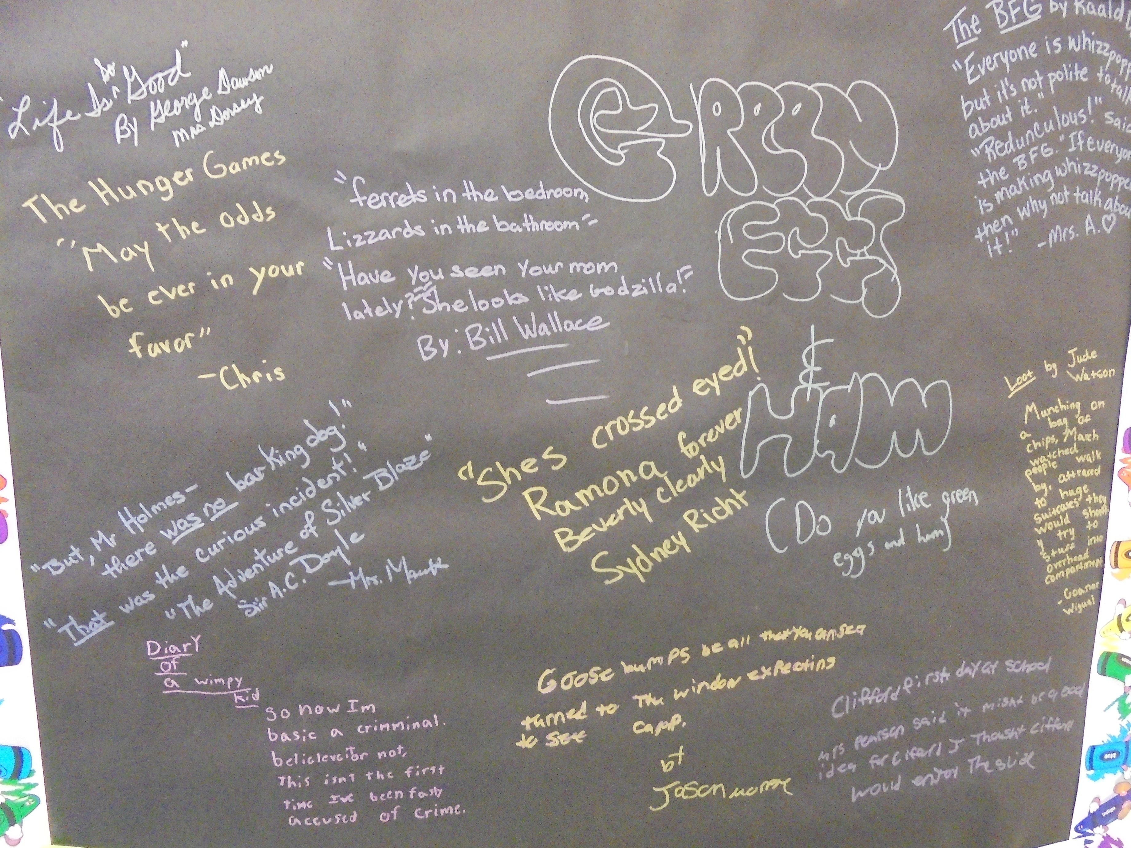 Graffiti wall reading - Students And Faculty Could Write Their Favorite Quote From A Book