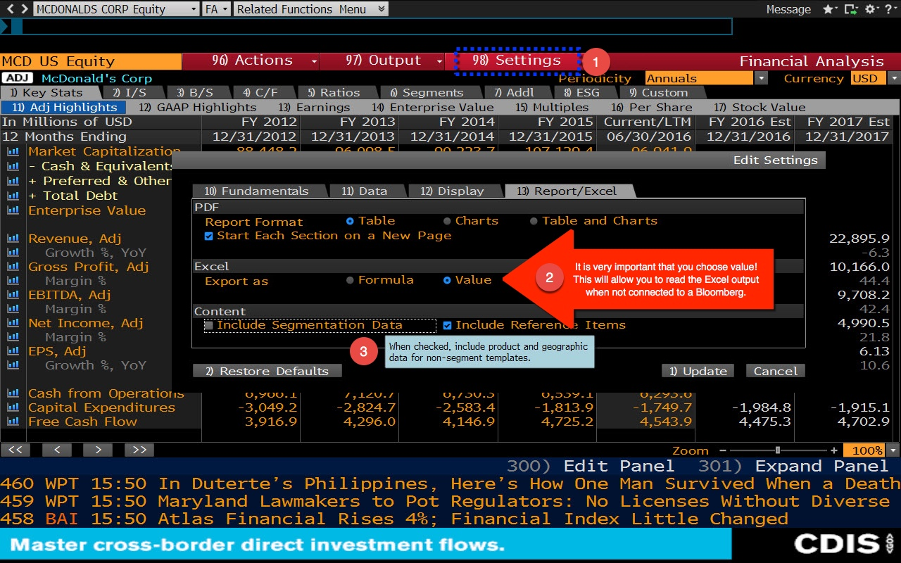 Downloading Data To Excel Bloomberg Terminal Libguides Home At