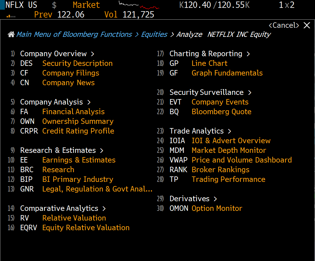 Company Information Bloomberg Terminal Guide Lief Library