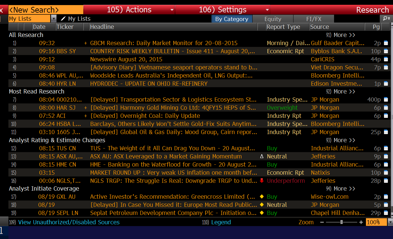 Bloomberg Research Reports Page