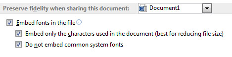 Microsoft Word's font embedding options