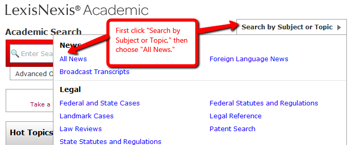 Screenshot of LexisNexis