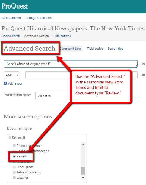 Screenshot of historical New York Times in ProQuest