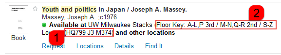 This screen grab shows Search@UW record for a book, highlighting the call number and the floor key for locating the book.