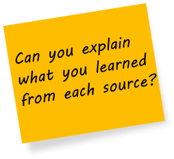 Can you explain what you learned from each source?