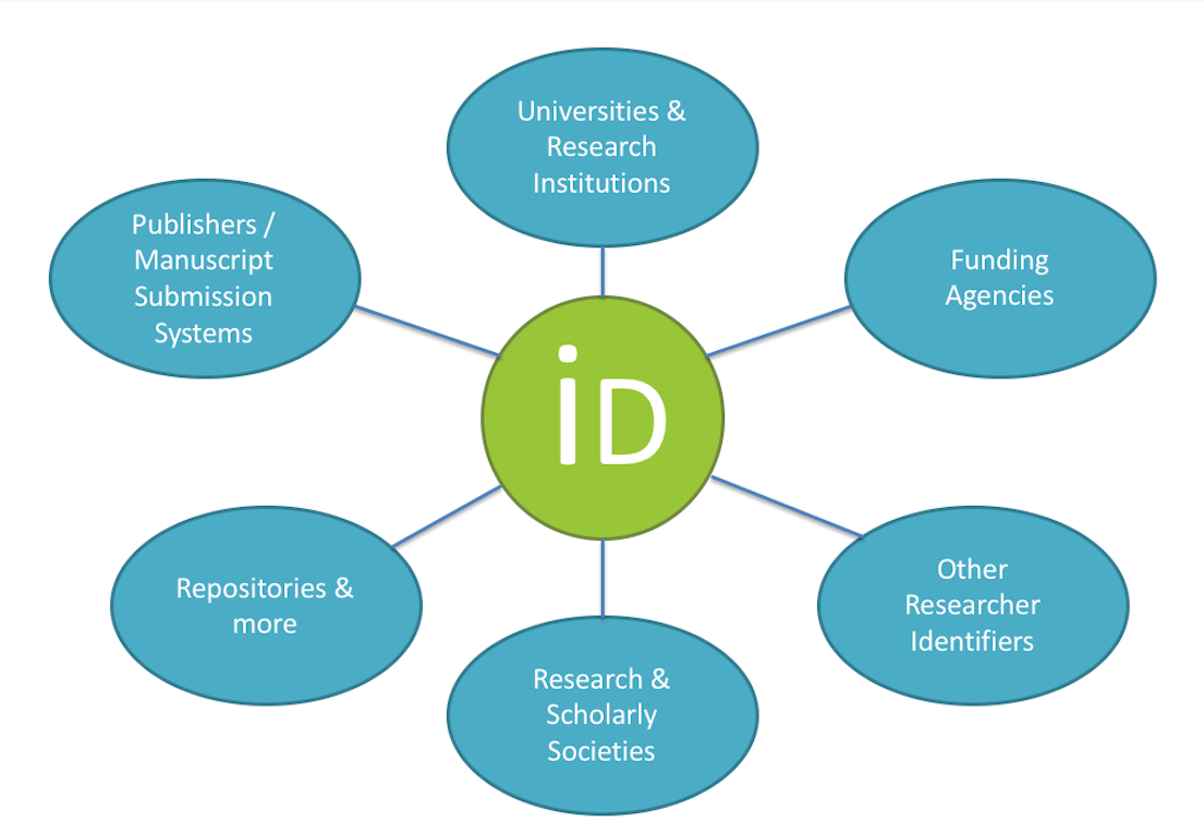 Infographic that illustrates the people who use ORCID, such as funding agencies, universities & research institutions, publishers, repositories, and research & scholarly societies