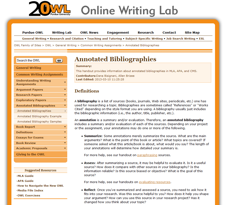 Owl annotated bibliography