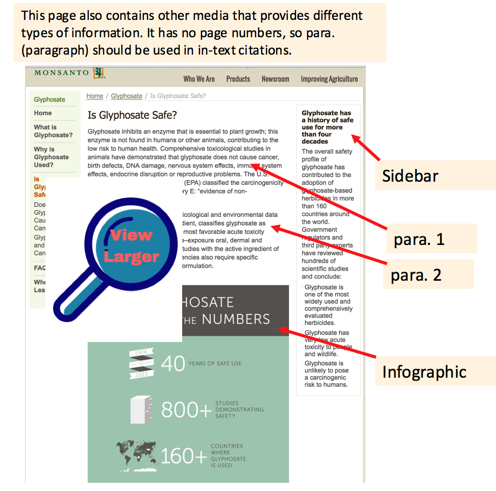 image of Monsanto Glyphosate page with infographic and sidebar.