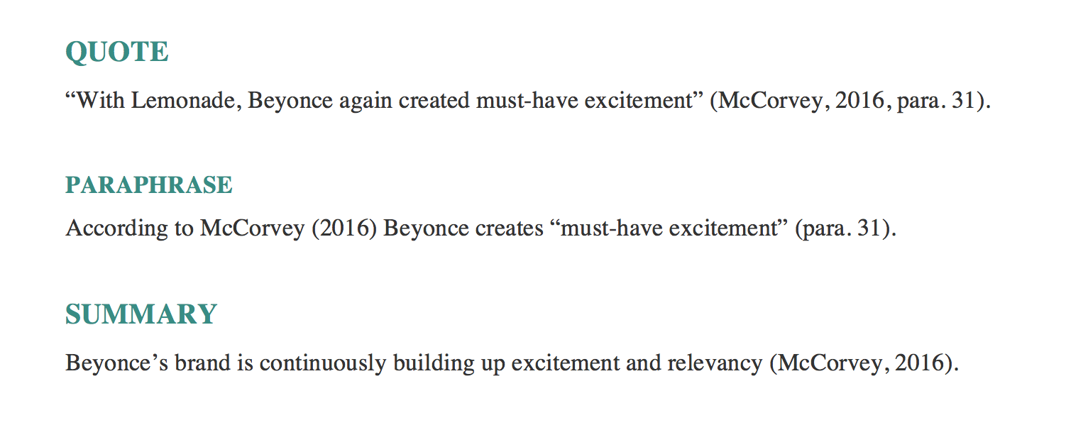 "QUOTE ""With Lemonade, Beyonce again created must-have excitement"" (McCorvey, 2016, para. 31).    PARAPHRASE According to McCorvey (2016) Beyonce creates ""must-have excitement"" (para. 31).  SUMMARY Beyonce's brand is continuously building up excitement and relevancy (McCorvey, 2016)."
