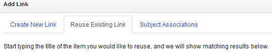 Reuse an existing link